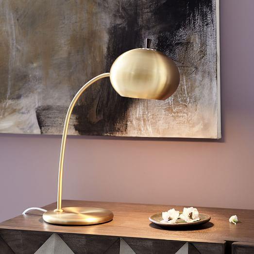Petite Arc Metal Table Lamp, Antique Brass