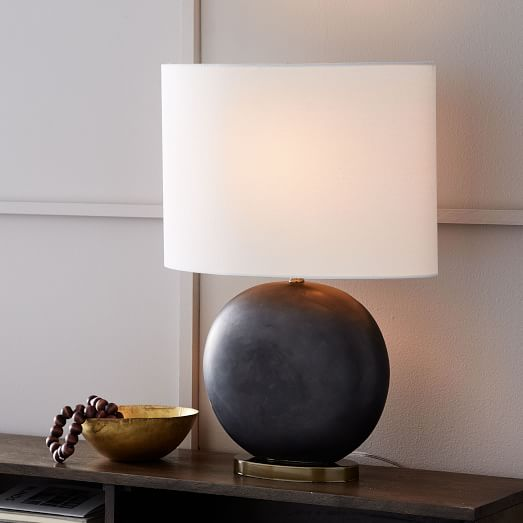 Ceramic Pebble Table Lamps- Base Shade Small- Brass/Oyster Glaze