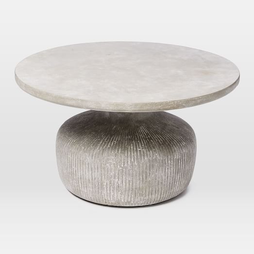 Tambor concrete outdoor drum coffee table west elm for Concrete drum coffee table