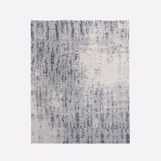 Distressed Foliage Rug, Moonstone, 8'x10'