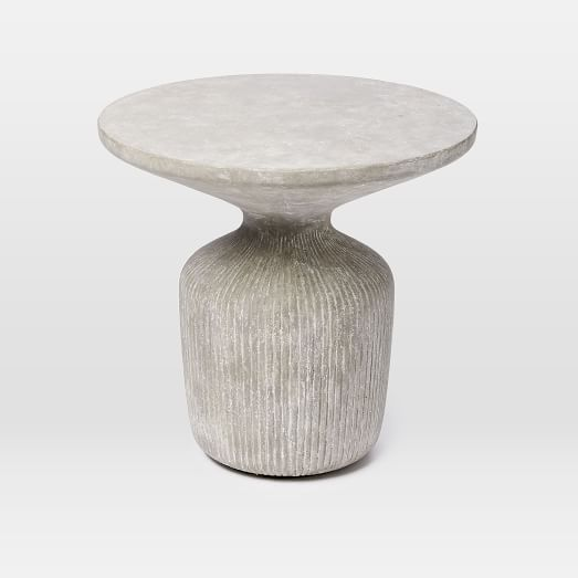 Tambor concrete outdoor drum side table west elm for Concrete drum coffee table