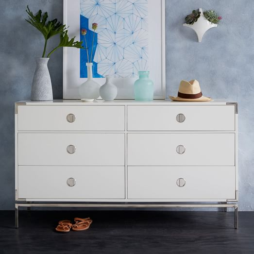 Malone Campaign 6-Drawer Dresser - White Lacquer | west elm