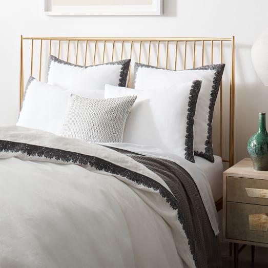embroidered border linen duvet cover shams white. Black Bedroom Furniture Sets. Home Design Ideas