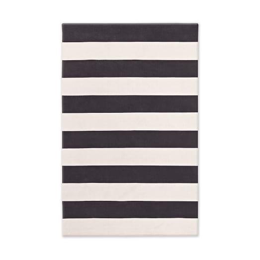 Bold Stripe Cotton Rug, Black, 5'x8'