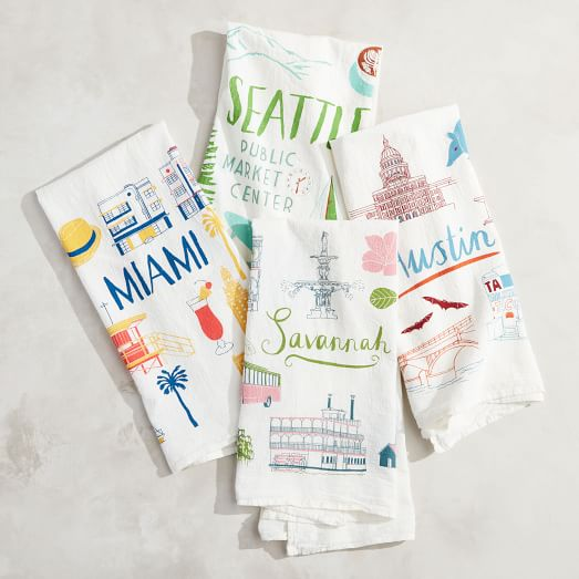 Fun city tea towels