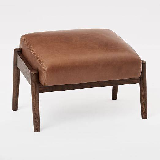 Mid century show wood leather ottoman west elm