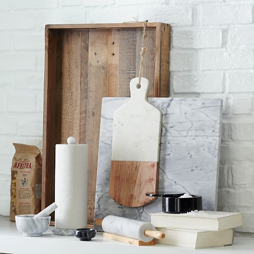 marble  wood cutting board  west elm, Kitchen design