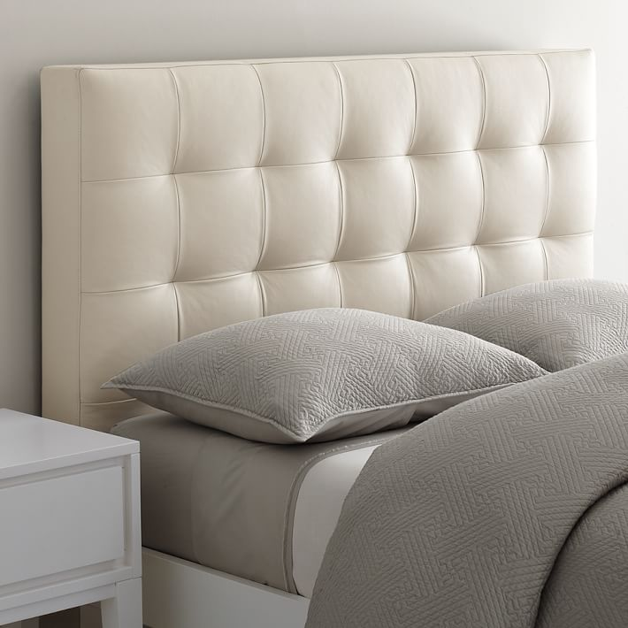. Low Leather Grid Tufted Headboard   west elm