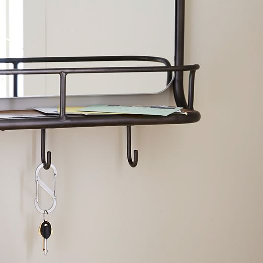 Entryway mirror hooks west elm Wall mount entryway organizer mirror hallway coat rack key cabinet