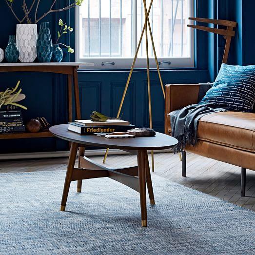Reeve Mid Century Coffee Table Marble Walnut: Reeve Mid-Century Oval Coffee Table - Pecan