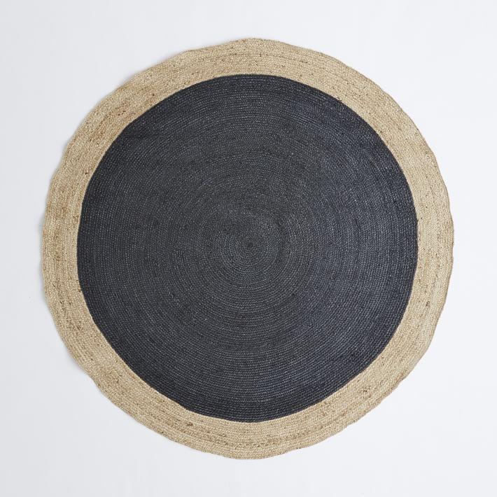 Bordered Round Jute Rug - Slate | west elm