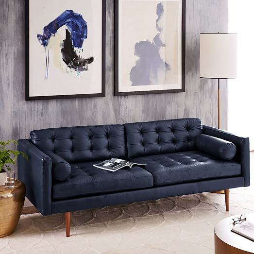 "Monroe Mid-Century Leather Sofa (80"") | west elm"