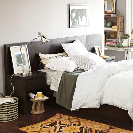Storage Bed Headboard Chocolate West Elm