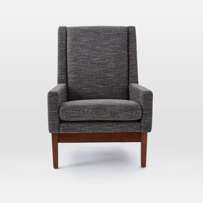 faceted wood frame armchair west elm