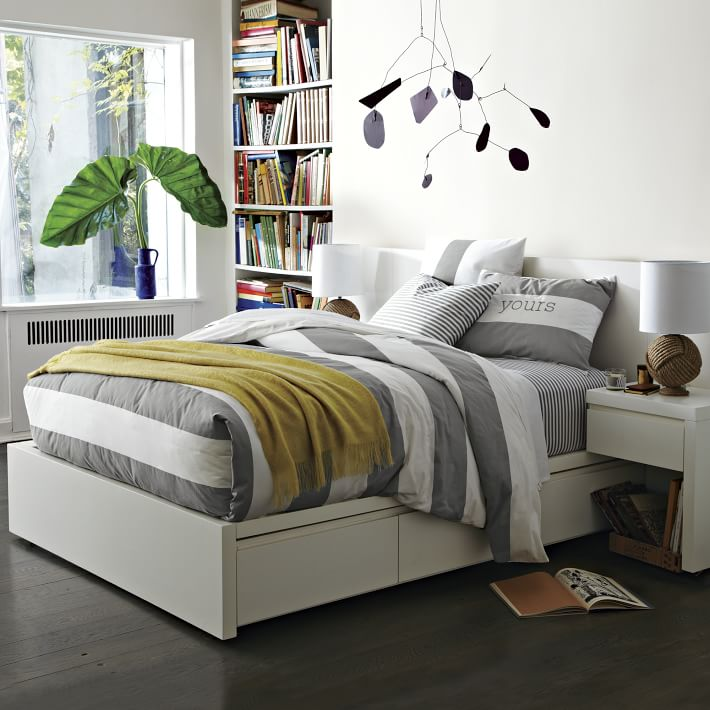 storage platform bed frame white west elm