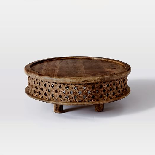 Carved wood coffee table west elm