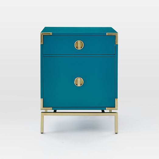 Malone Campaign Nightstand Blue Teal