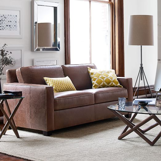 Henry leather sofa molasses west elm for West elm living room ideas