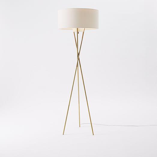 Melrose Mid Century Brass White Shade Floor Lamp: Mid-Century Tripod Floor Lamp - Antique Brass