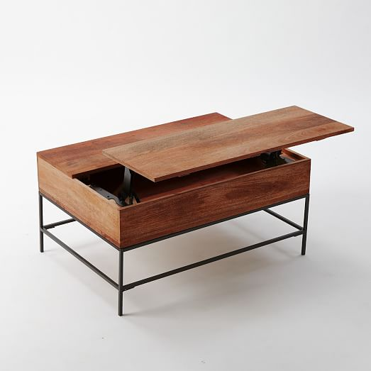 Industrial storage coffee table west elm for Coffee tables with storage