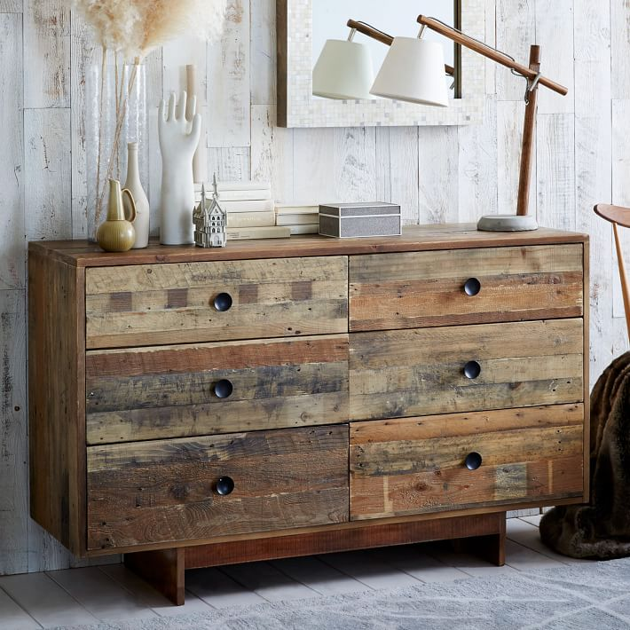 Emmerson Reclaimed Wood 6 Drawer Dresser Natural West Elm. Reclaimed Wood Bedroom Dresser   Best Bedroom 2017