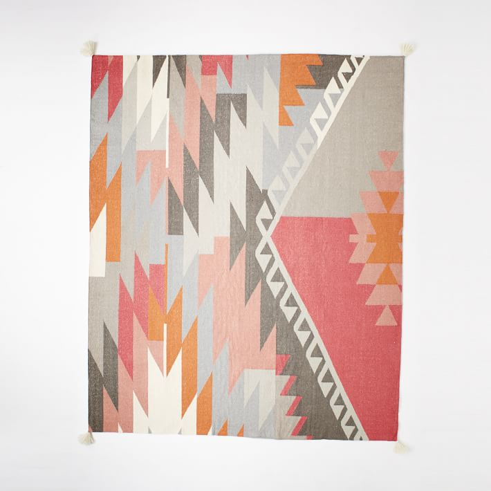 Sivas Wool Kilim Rug - Macaroon Pink | west elm