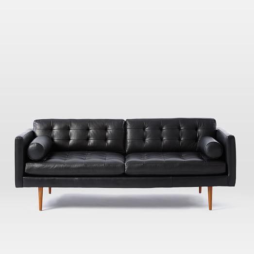 Monroe Mid Century Leather Sofa 80 Quot West Elm