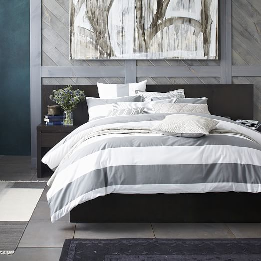 West Elm Organic Braided Matelasse Duvet Cover Queen Feather Gray