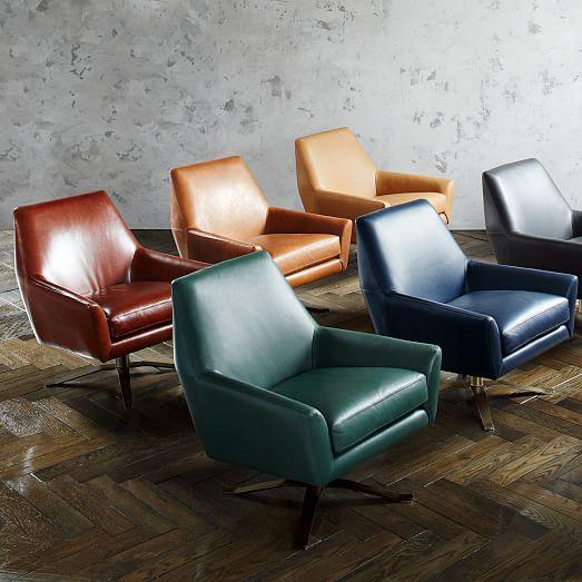 lucas leather swivel base chair west elm. Black Bedroom Furniture Sets. Home Design Ideas