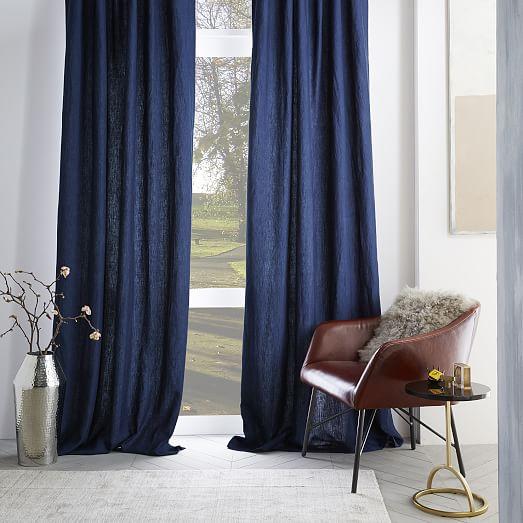 Belgian Flax Linen Curtain - Midnight | west elm