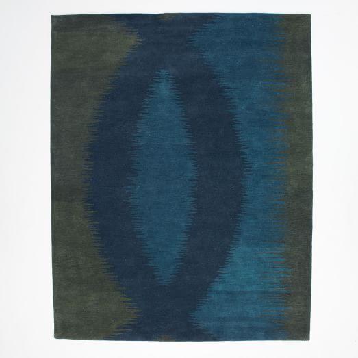 Lagoon Wool Rug, 9'x12', Green