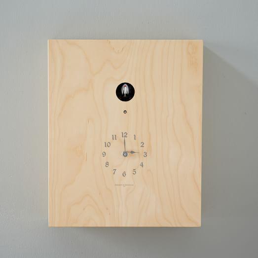 Birdie Cuckoo Clock, Standing House, Light Wood Veener