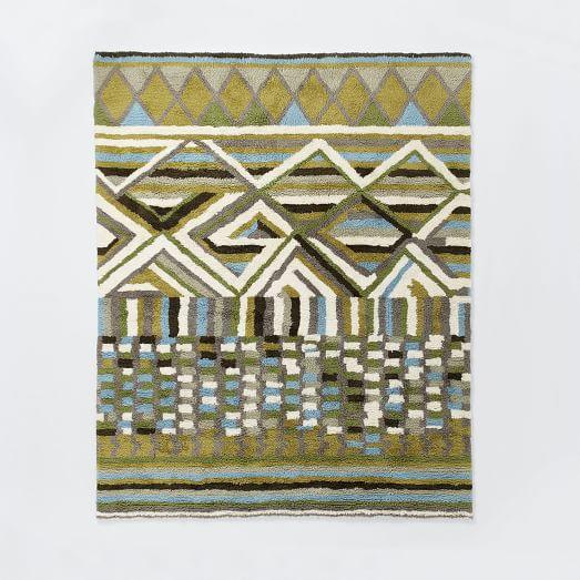 Diamond Wool Shag Rug, 9'x12', Green Tea