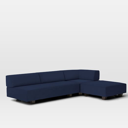 Tillary Set 2- Base, Back Cushions, 2 Ottomans, Corner Cushion, Performance Velvet, Ink Blue
