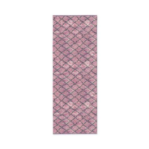 Watercolor Trellis Wool Shag Rug, Sorbet, 2.5'x7'