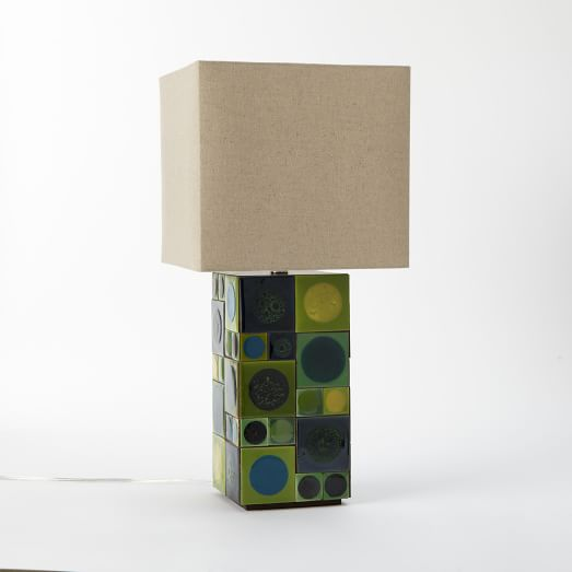 Lubna Chowdhary Table Lamp , Cfl - Dots, Green/Natural Linen, Large
