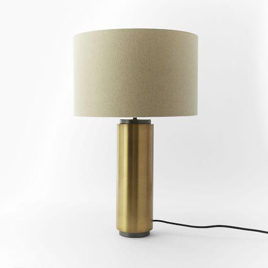 Pillar Table Lamp, Antique Brass