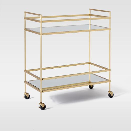 Terrace Bar Cart, Antique Brass/Glass/Mirror