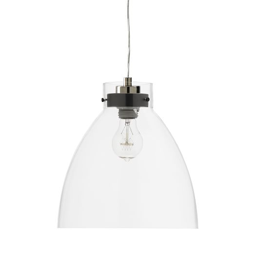 Industrial Glass Pendant, Clear + Clear Cord Set