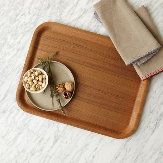 Wood Veneer Tray, Dark Wood