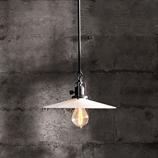 George Industrial Pendant, Oil Rubbed Bronze with Opal Shade with Bulb