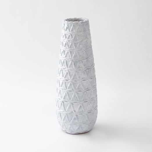 Ceramic Woven Vase, Tall Narrow, Open Cross Weave, Light Gray