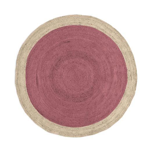 SPO Bordered Round Jute Rug, 6' Round, Macaroon Pink