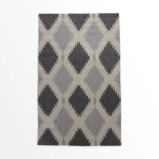 Phoenix Wool Dhurrie Rug, Iron, 5'x8'