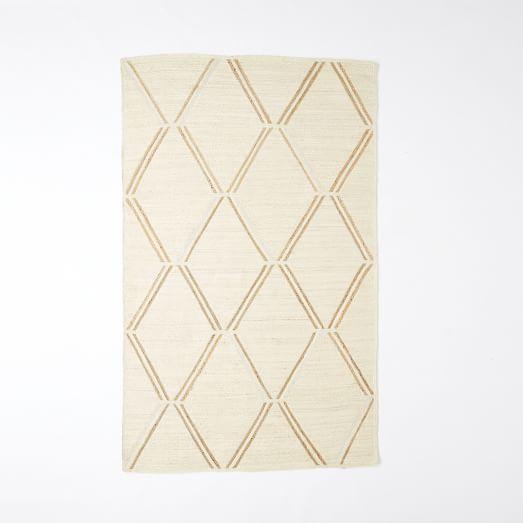 Affine Metallic Jute Rug, Ivory/Natural, 3'x5'