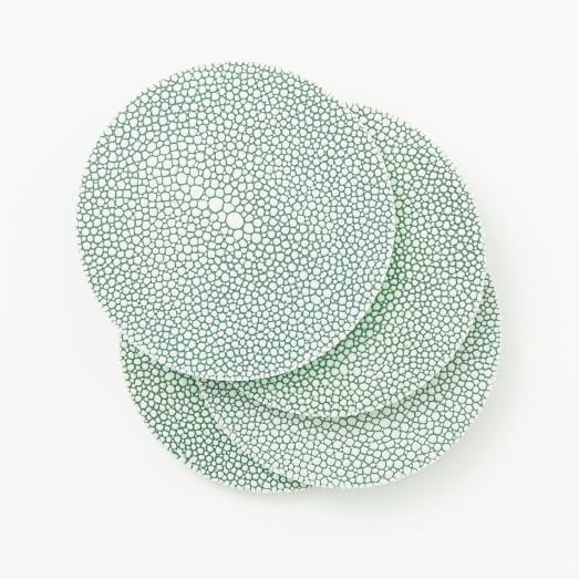 Shagreen Coaster, Set of 4, Celadon