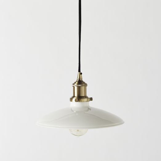Enameled Metal Industrial Pendant, White