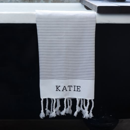 Blocked-Stripe Hand Towel, 20