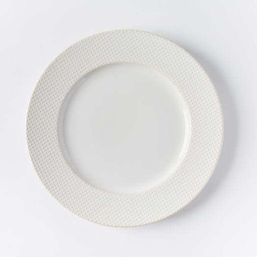 Textured Dinner Plate, Set of 4, Dot, White