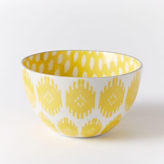 Ikat Pad Printed Bowl, Shields Ikat, Yellow/Gray Rim